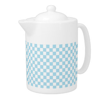 Blue And White Checkered Pattern Teapot