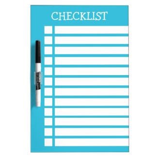 Blue And White Checklist Dry Erase Whiteboards
