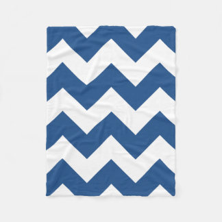 Blue and White Chevron Fleece Blanket