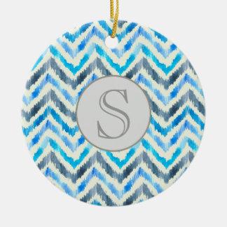 Blue and White Chevron Monogram Ornament