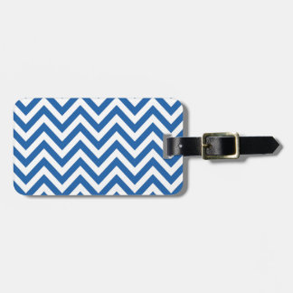 Blue and White Chevron zigzag Pattern Bag Tag