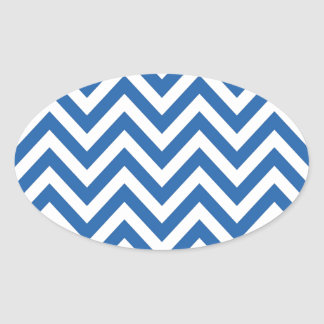 Blue and White Chevron zigzag Pattern Oval Sticker
