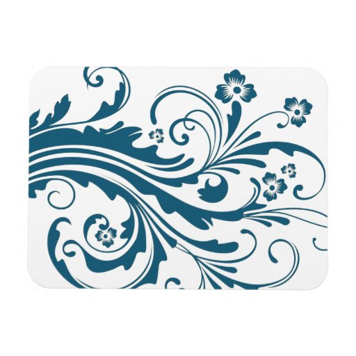 Blue and White Chic Floral Flexible Magnets