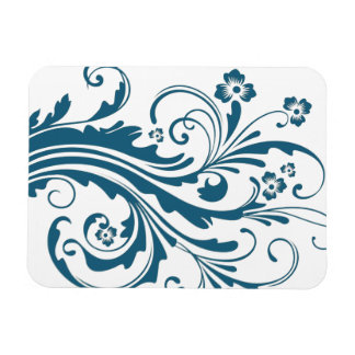 Blue and White Chic Floral Rectangular Photo Magnet