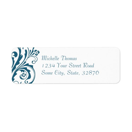 Blue and White Chic Floral Return Address