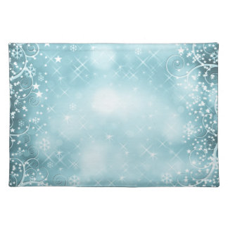 Blue and white Christmas mat