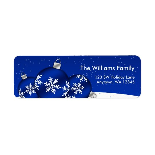 Blue and White Christmas Snowflake Ornaments Return Address Label