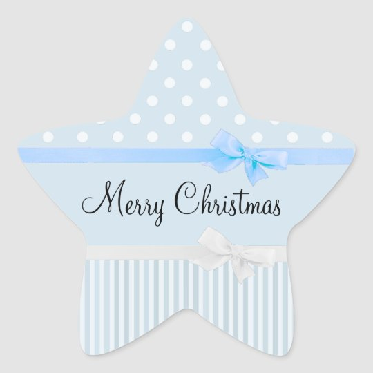 Blue and White Christmas Star Shaped Stickers