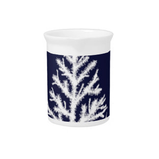 Blue and White Christmas Tree in Snow Pitcher