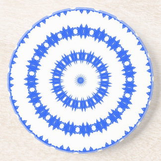 Blue And White Circle Pattern Coaster