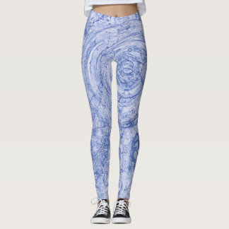 Blue and White Circles Leggings