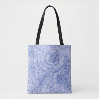 Blue and White Circles Tote Bag