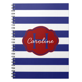 Blue and White Classic Horizontal Stripe Spiral Note Book