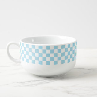 Blue And White Classic Retro Checkered Pattern Soup Mug