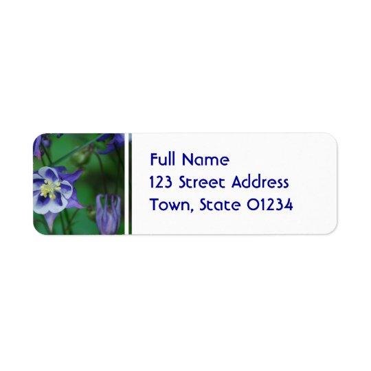 Blue and White Columbine Flower Mailing Label Return Address Label