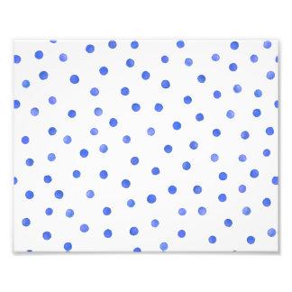 Blue and White Confetti Dots Pattern Art Photo