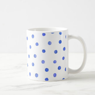 Blue and White Confetti Dots Pattern Coffee Mug