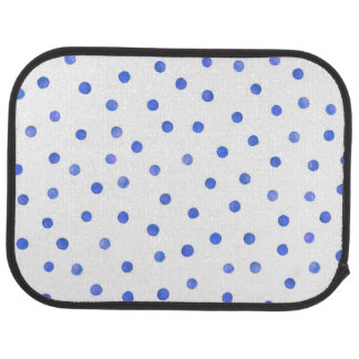 Blue and White Confetti Dots Pattern Floor Mat