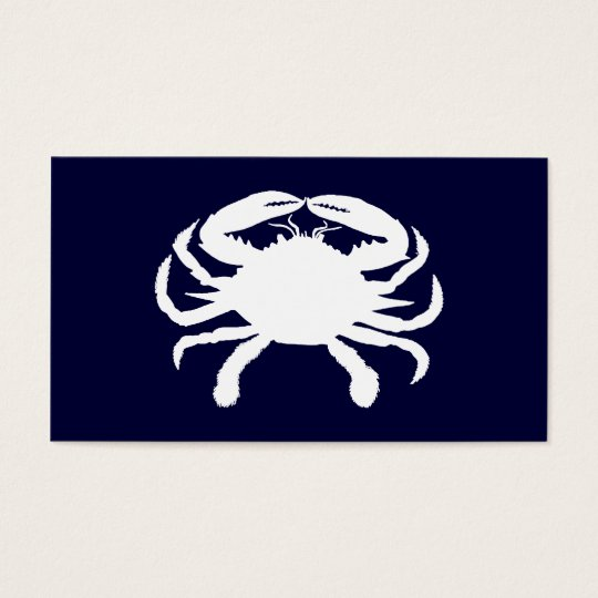 Blue and White Crab Shape Business Card