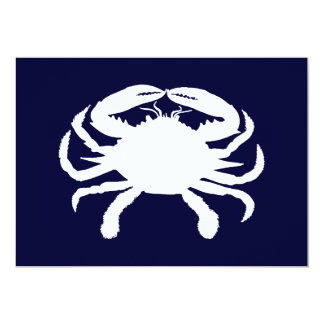 Blue and White Crab Shape Card