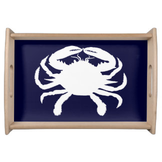 Blue and White Crab Shape Serving Tray