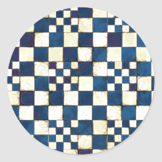 Blue and White Cracked Tile Texture Background Classic Round Sticker