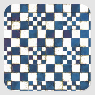 Blue and White Cracked Tile Texture Background Square Sticker