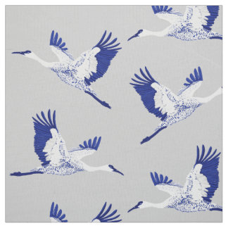 Blue and white cranes fabric