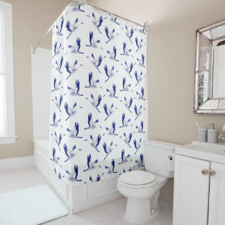 Blue and white cranes shower curtain