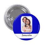 Blue and white custom photo 3 cm round badge