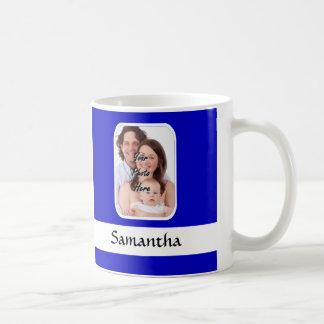 Blue and white custom photo basic white mug