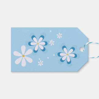 Blue and white daisies gift tags