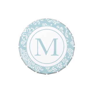 Blue and White Damask-Monogram Jelly Belly Tins