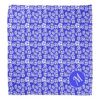 Blue and White Damask Monogrammed Dog Bandana