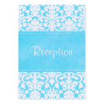 Blue and White Damask on Linen Enclosure Card