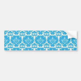 Blue and White Damask Pattern Bumper Sticker