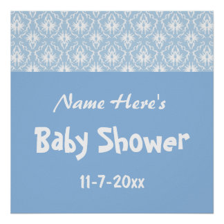 Blue and White Damask Pattern, Custom Baby Shower Print