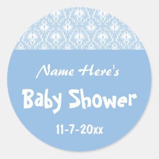 Blue and White Damask Pattern, Custom Baby Shower Round Sticker