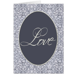 Blue and white damask pattern greeting card