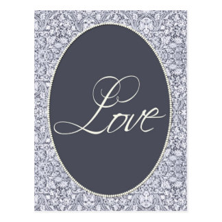 Blue and white damask pattern post cards