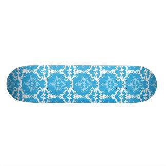 Blue and White Damask Pattern Skate Board Decks