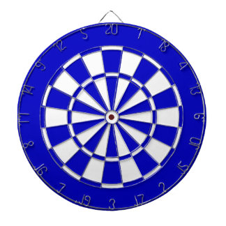 Blue and white dartboard