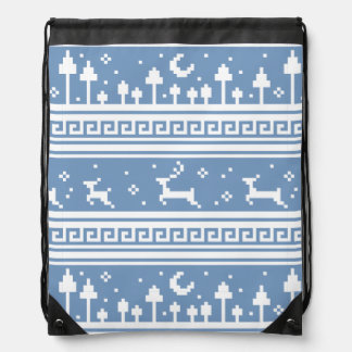 Blue And White Deer Family Moonlit Forest Drawstring Bags