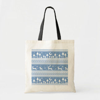 Blue And White Deer Family Moonlit Forest Bag