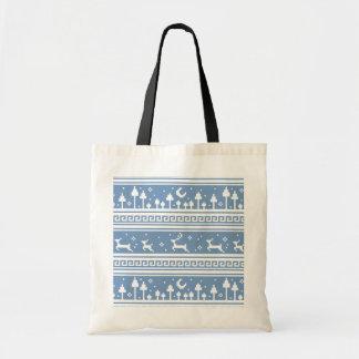 Blue And White Deer Family Moonlit Forest Bag