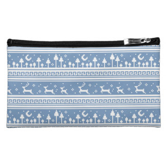 Blue And White Deer Family Moonlit Forest Cosmetic Bags