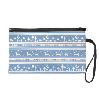 Blue And White Deer Family Moonlit Forest Wristlet Purses