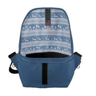 Blue And White Deer Family Moonlit Forest Commuter Bag