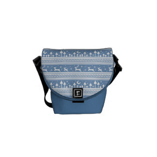Blue And White Deer Family Moonlit Forest Messenger Bags