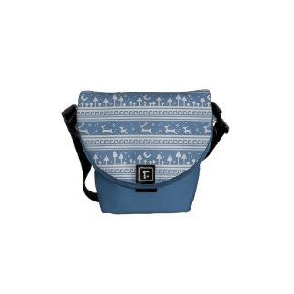 Blue And White Deer Family Moonlit Forest Messenger Bags